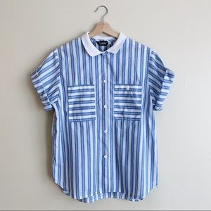 Vintage Striped Button-Up Blouse